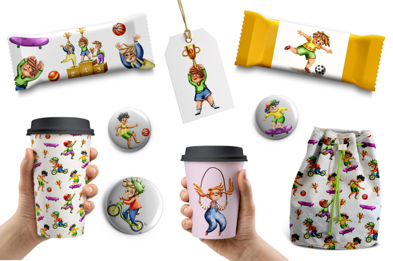 sporty-kids-clip-art-set