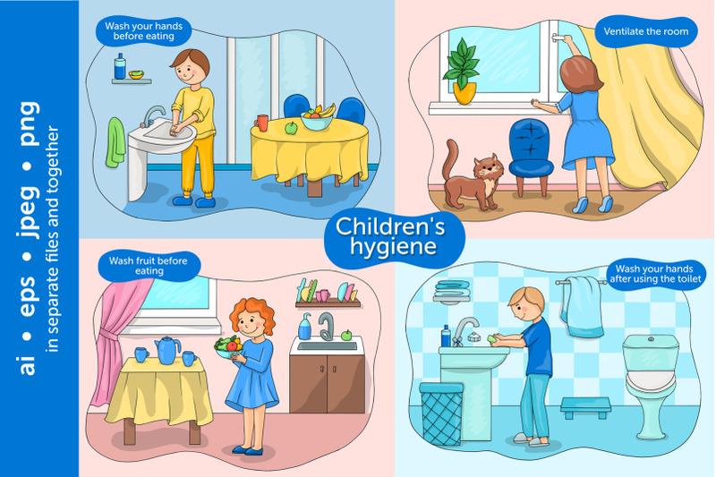 baby-hygiene-vector-illustration-set