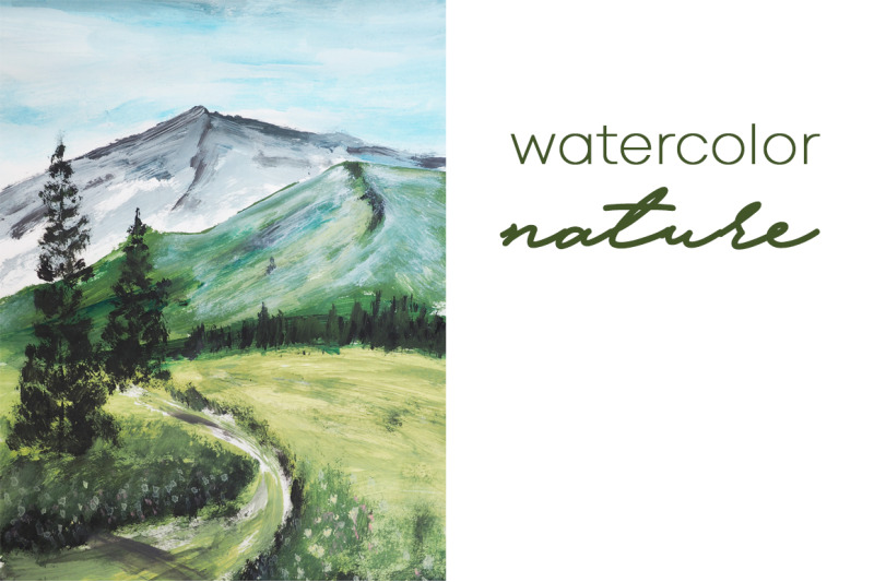 watercolor-nature-and-landscape-with-tree-and-hill