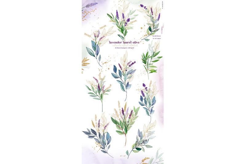 lavender-laurel-olive-gold-watercolor