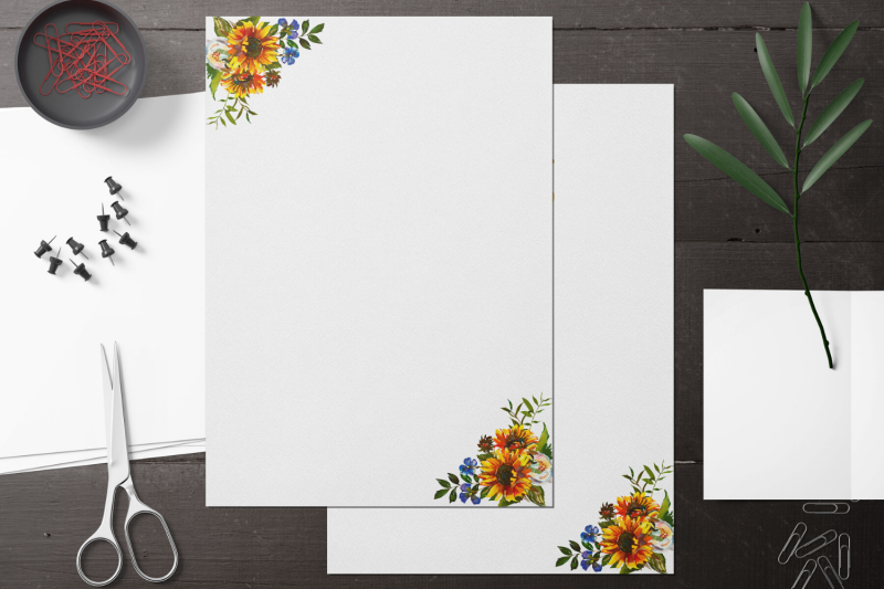 sunflower-watercolor-floral-stationary-flowers-digital-lined-paper-d