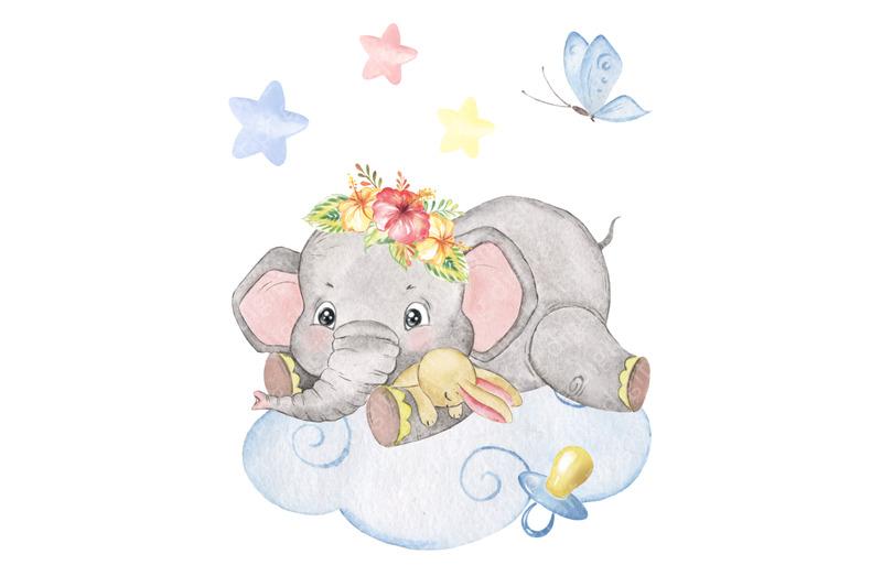watercolor-baby-elephant-clipart-elephant-sleeping-on-a-cloud