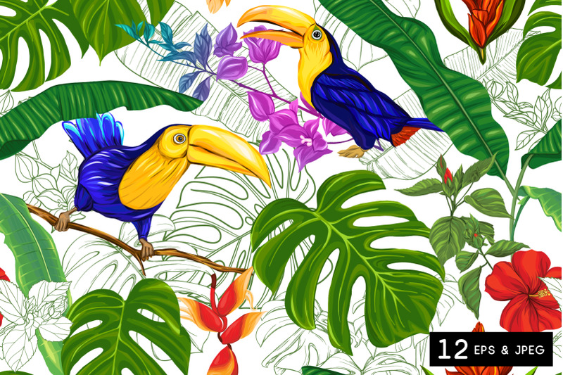 tropical-plants-and-flowers-seamless-pattern