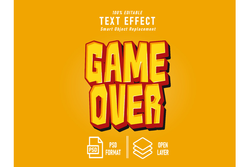 game-over-game-text-effect-template-editable