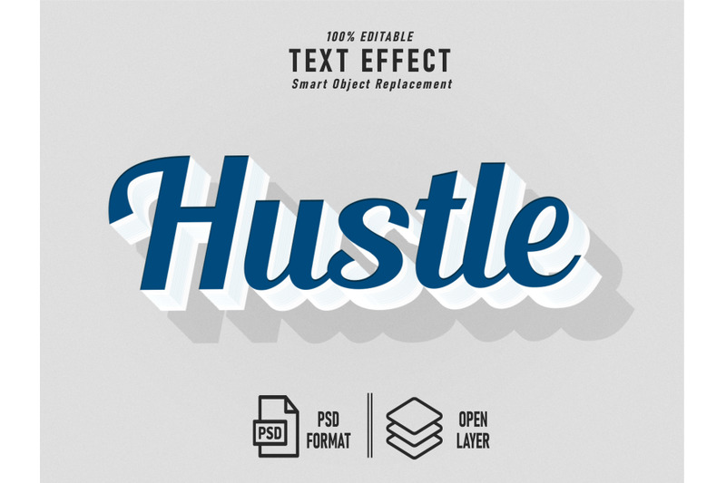 hustle-blue-text-effect-template-editable