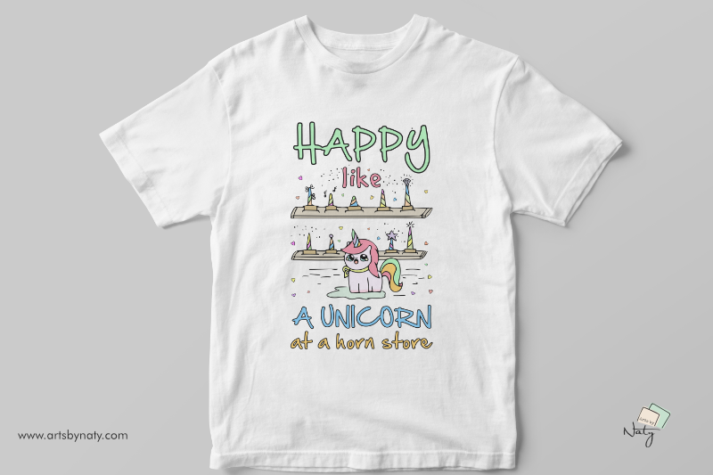 happy-like-a-unicorn-at-a-horn-store-svg-illustration
