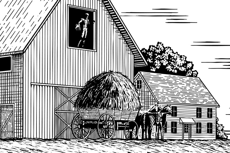 woodcut-hay-farmers