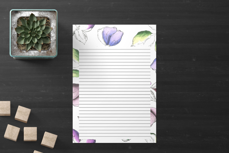 watercolor-floral-stationery-lined-digital-note-paper