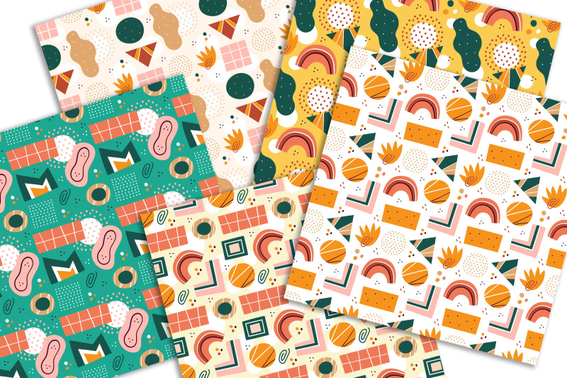 abstract-shapes-hand-drawn-flat-seamless-patterns