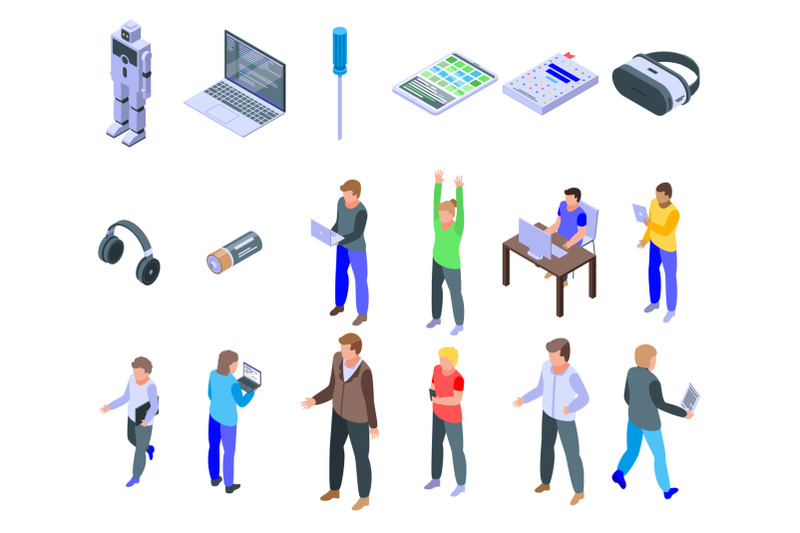programming-for-children-icons-set-isometric-style