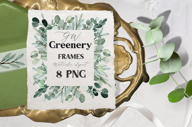 Watercolor Greenery Frames Clipart By Labfcreations