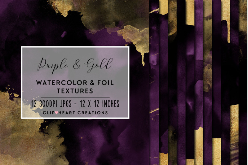 purple-amp-gold-watercolor-and-foil-digital-papers
