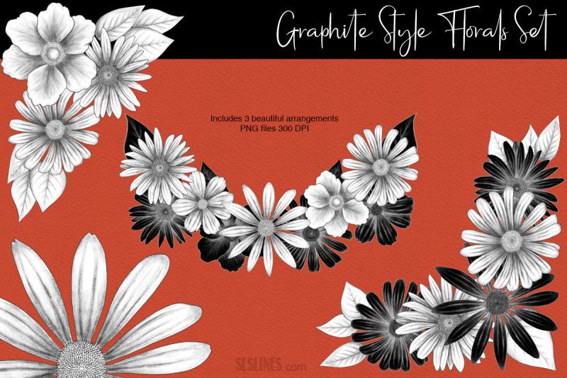 graphite-style-floral-design-set