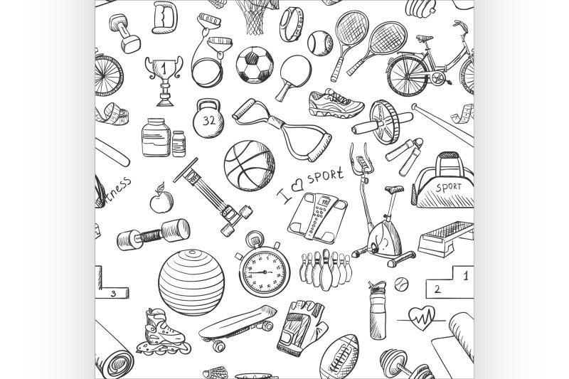 hand-drawn-fitness-sport-doodle-pattern