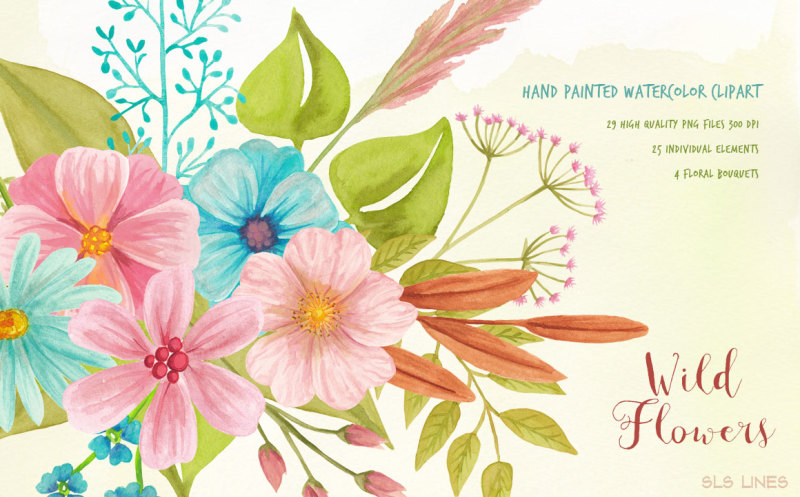 wild-flowers-watercolor-clipart-set