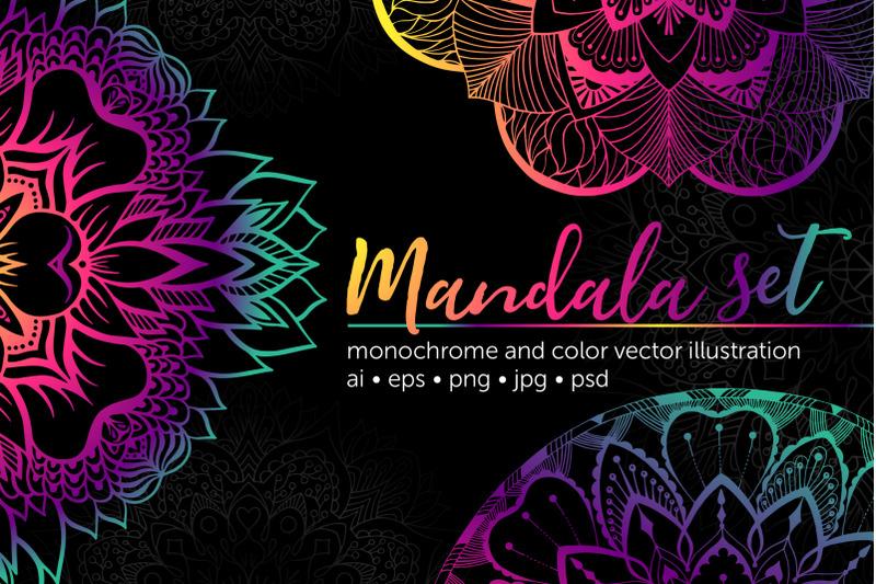 set-of-bright-vector-mandalas
