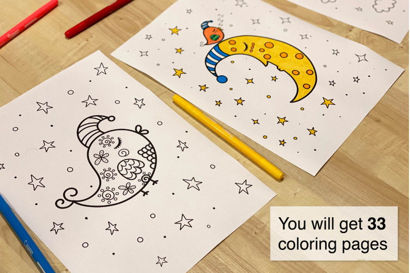 Good Night Coloring Pages By Juliyas Art Thehungryjpeg Com