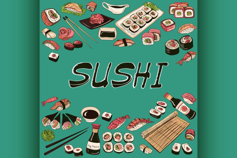 sushi-vector-illustration-hand-drawn-style