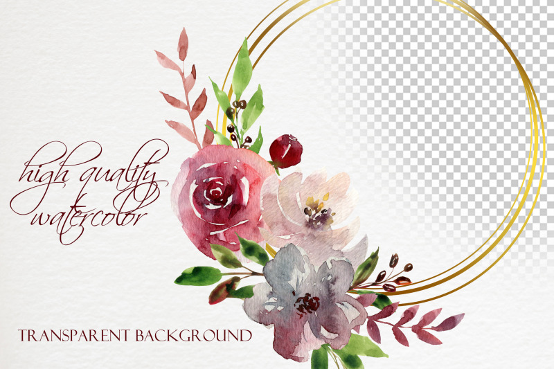 watercolor-boho-burgundy-floral-geometric-frames-clipart