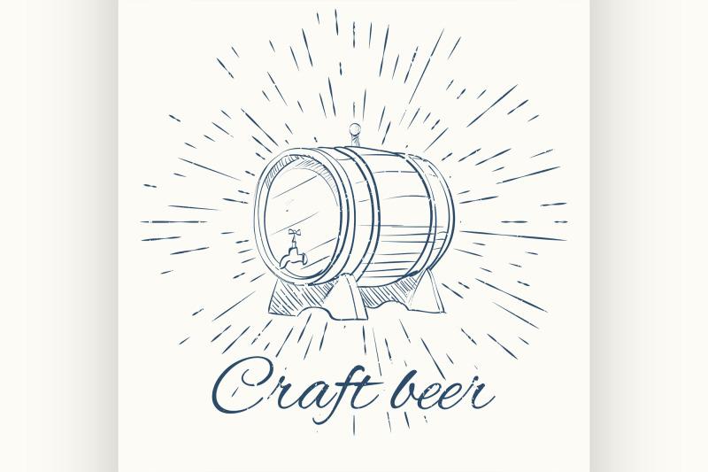 beer-barrel-and-vintage-sun-burst-frame-craft-emblem