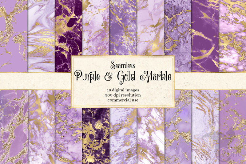 purple-and-gold-marble-digital-paper