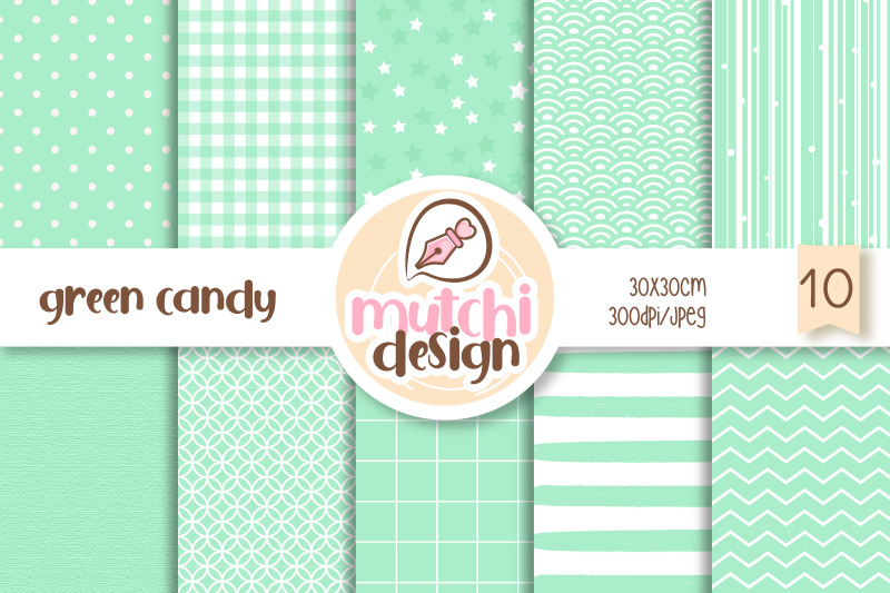 green-candy-color-digital-papers