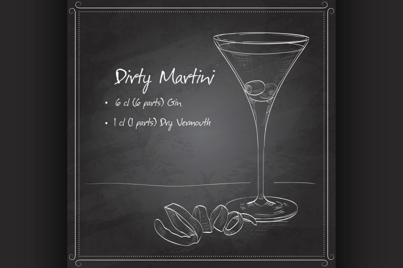 cocktail-dirty-martini-on-black-board