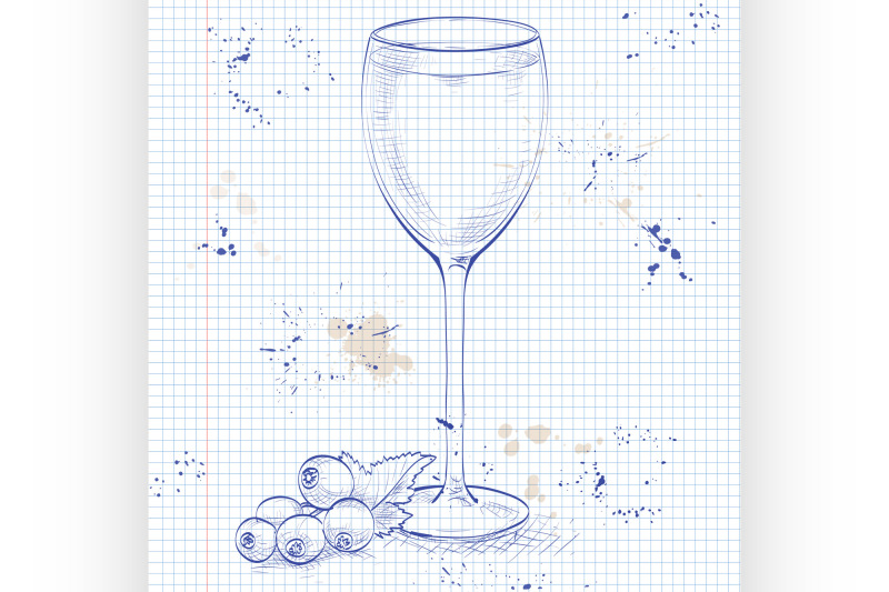 kir-alcohol-cocktail-on-a-notebook-page