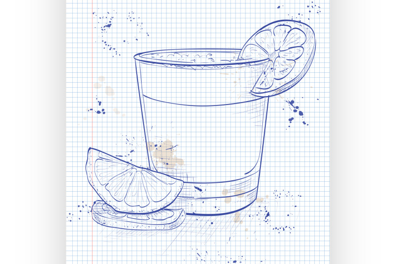 cocktail-pisco-sour-on-a-notebook-page