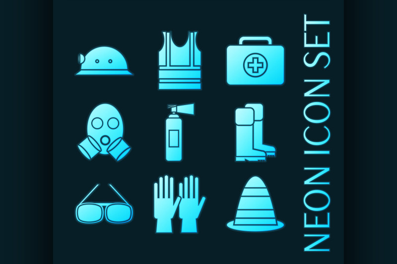 set-of-safety-equipment-glowing-neon-icons