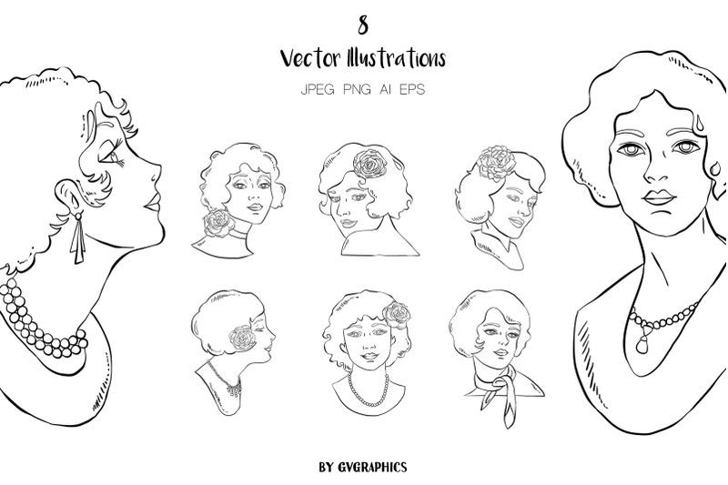 8-hand-drawn-retro-women-vector-illustrations