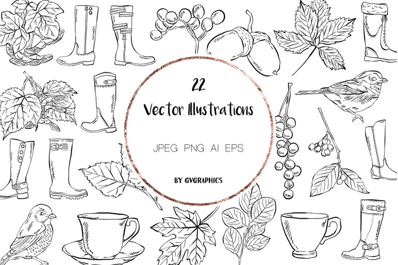 22-hand-drawn-birds-leaves-boots-and-tea-cups-vector-illustrations