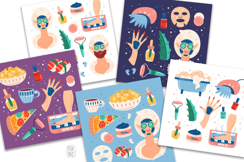 home-spa-clipart-digital-prints-backgrounds-stickers