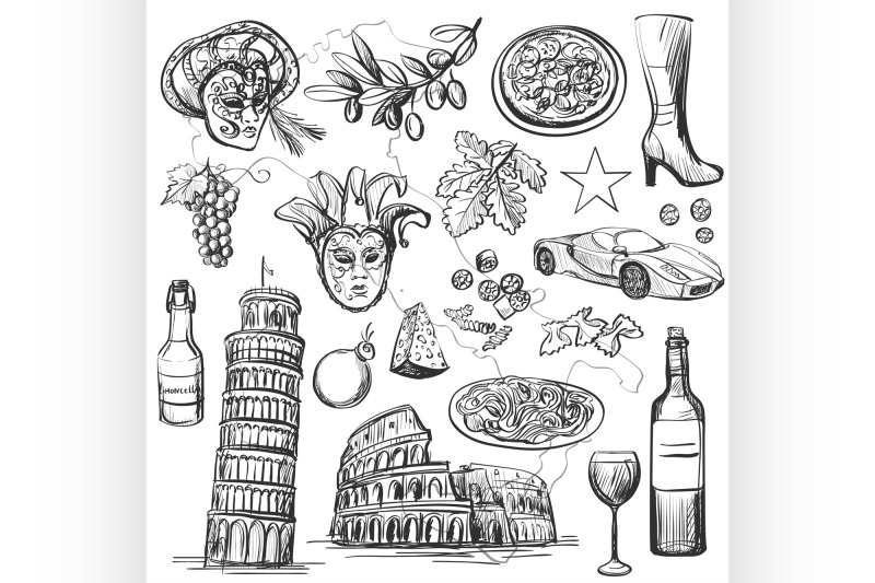 set-of-italy-icons-vector-illustration