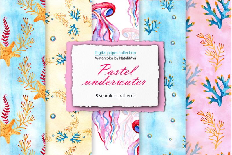 watercolor-sea-life-digital-paper-pack