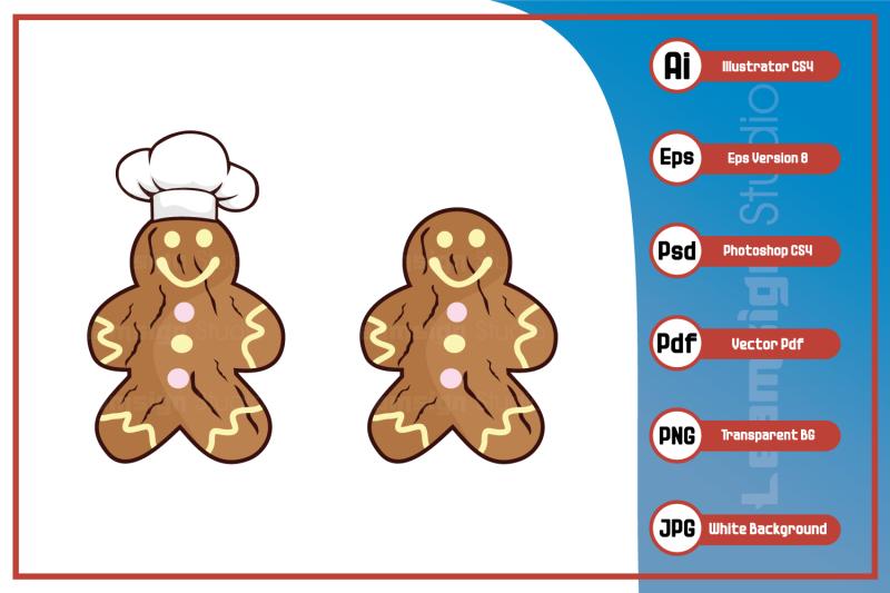mascot-cartoon-character-chef-gingerbread-design-vector