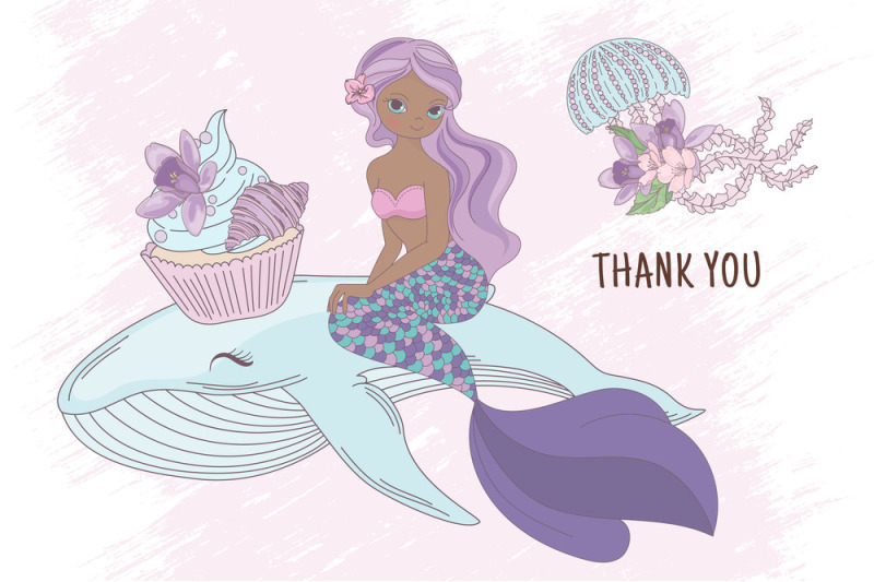 mermaid-party-creator-wedding-holiday-vector-illustration-set