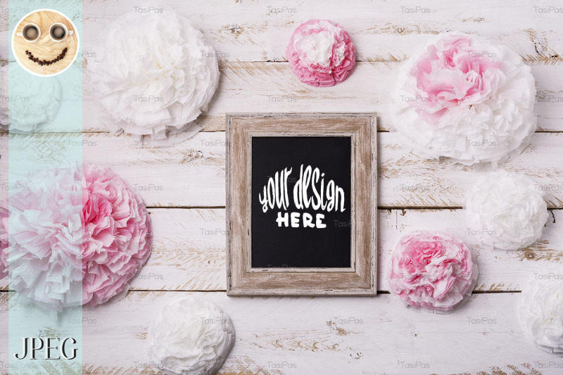 Download Wooden frame mockup with paper flowers. Free Mockups