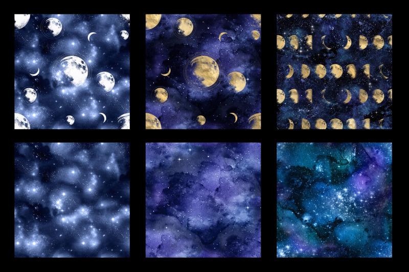galaxy-moon-digital-paper
