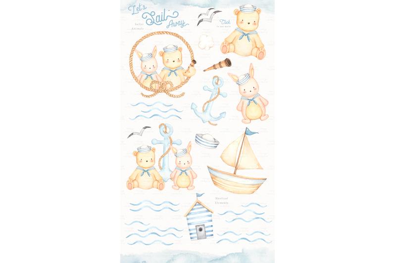 let-039-s-sail-away-watercolor-clip-arts