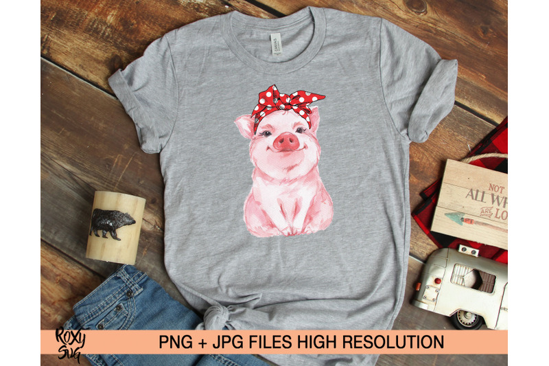 red-bandana-pig-png-sublimation-designs-download-clipart-pig-shirt