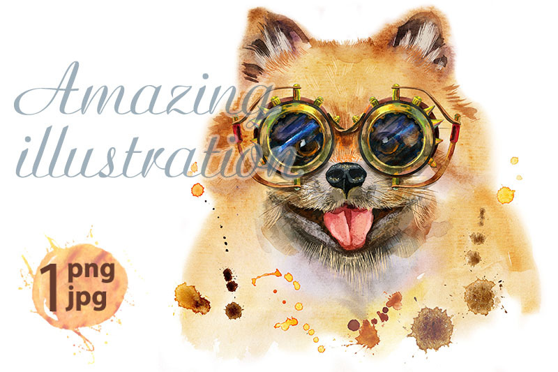 watercolor-portrait-of-dog-pomeranian-spitz-with-steampunk-glasses