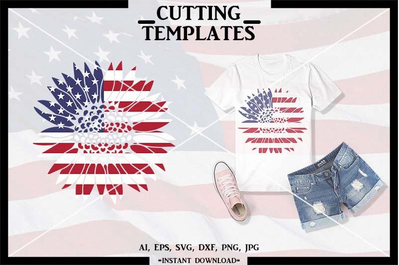 American Flag Sunflower SVG