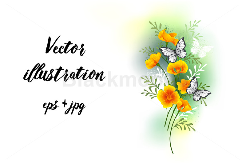 california-poppy-with-butterflies