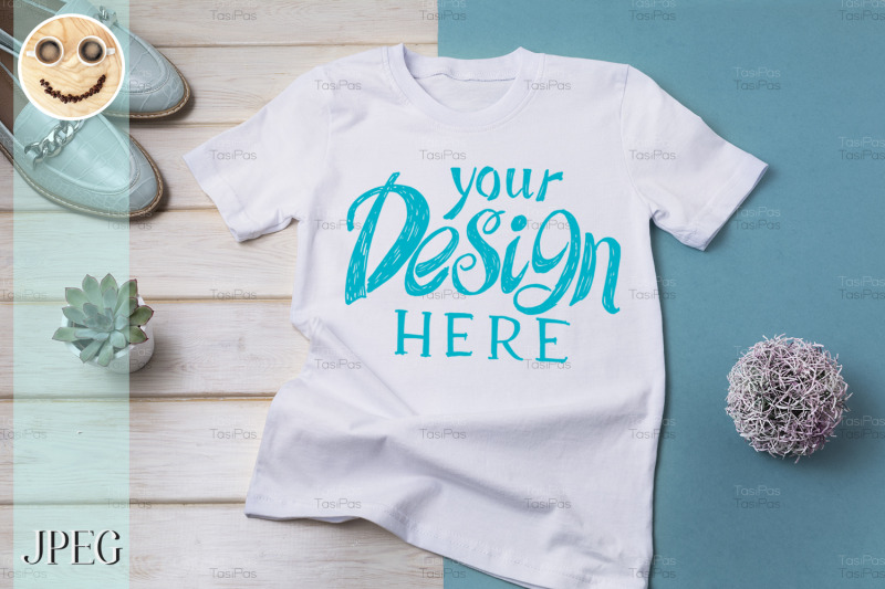 Download Womens T-shirt mockup with turquoise loafers. Free Mockups