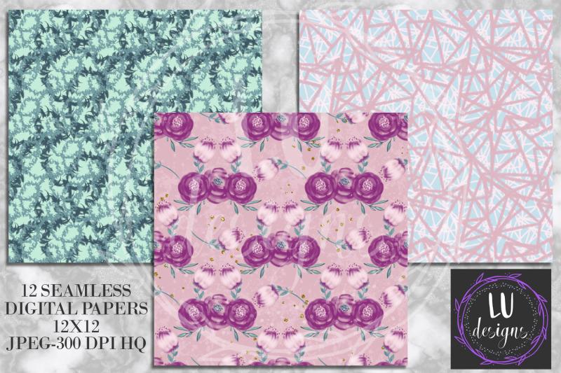 purple-flowers-digital-papers-watercolor-floral-scrapbook-papers