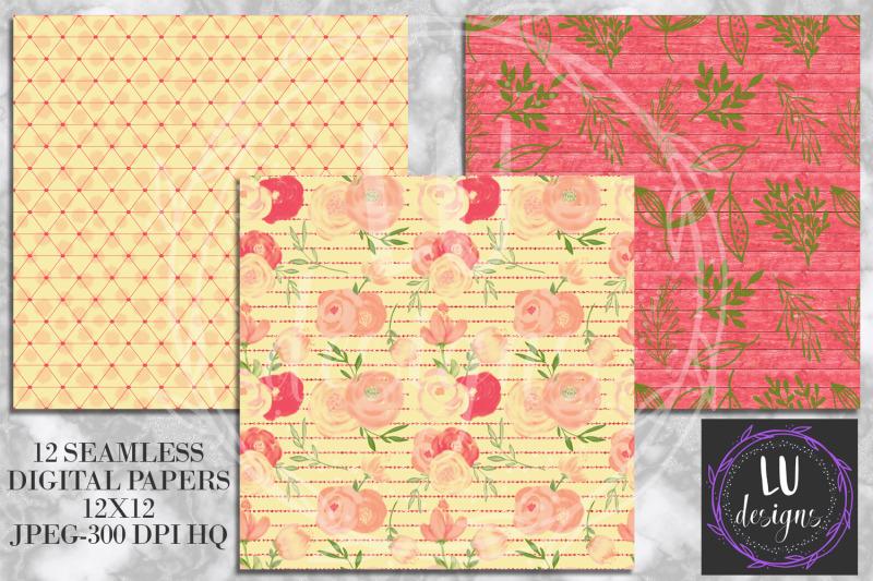 spring-orange-flowers-digital-papers-watercolor-floral-backgrounds