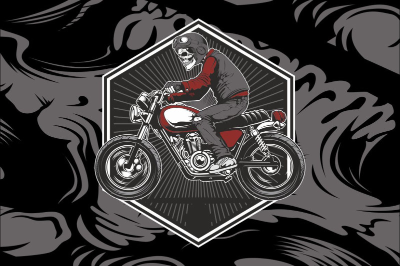 skull-wearing-a-helmet-riding-an-old-motorcycle-vector