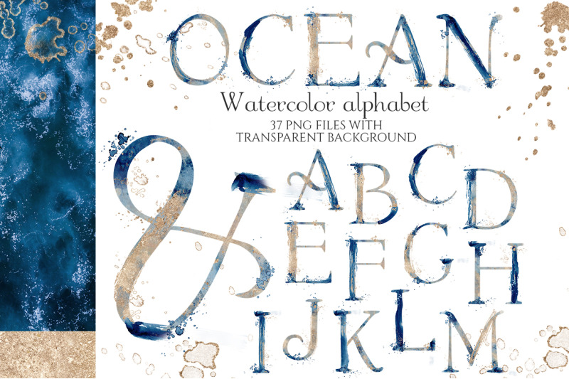 abstract-watercolor-blue-and-gold-alphabet