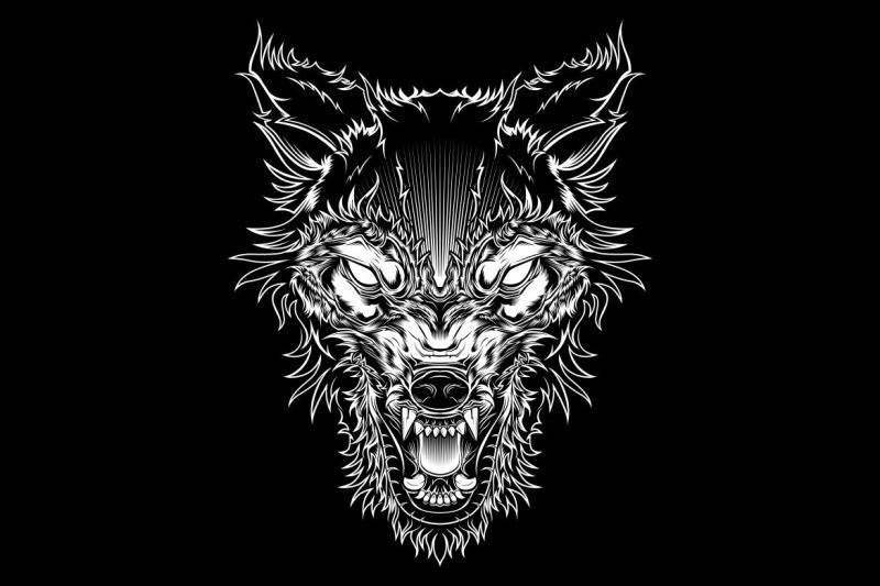 vector-illustration-head-ferocious-wolf-outline-silhouette-on-a-black
